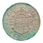 (W185.hc.1956.1.ttb.000000001) Demi-Couronne Blason d'Elisabeth II 1956 Revers