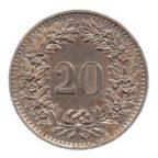 (W209.020.1976.1.ttb+.000000001) 20 Centimes Helvetia 1976 Revers