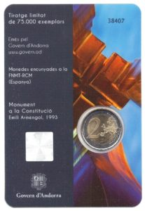 2 euro commemorative coin Andorra 2018 BU - Constitution of Andorra Back (zoom)
