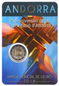 2 euro commemorative coin Andorra 2018 BU - Constitution of Andorra Front (zoom)