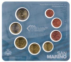 (EUR18.CofBU&FDC.2012.Cof-BU.000000001) Brilliant Uncirculated coin set San Marino 2012 Reverses (zoom)