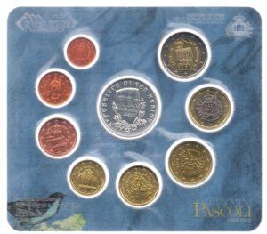 (EUR18.CofBU&FDC.2012.Cof-BU.1.000000001) BU coin set San Marino 2012 (Giovanni Pascoli) Obverses (zoom)