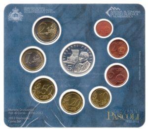 (EUR18.CofBU&FDC.2012.Cof-BU.1.000000001) BU coin set San Marino 2012 (Giovanni Pascoli) Reverses (zoom)