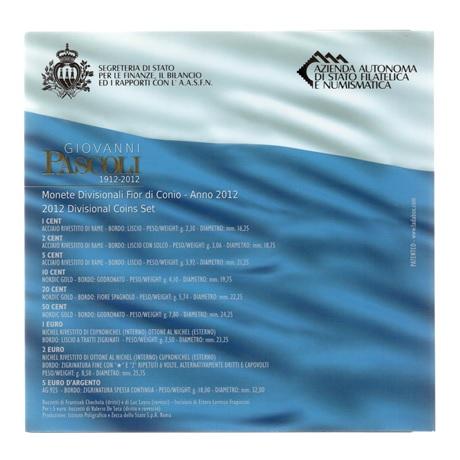 (EUR18.CofBU&FDC.2012.Cof-BU.1.000000001) Coffret BU Saint-Marin 2012 (Giovanni Pascoli) Verso