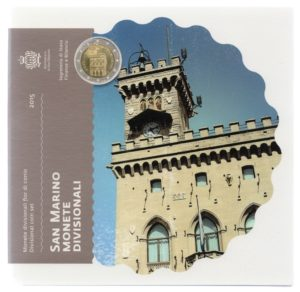 (EUR18.CofBU&FDC.2015.Cof-BU.000000001) Brilliant Uncirculated coin set San Marino 2015 Front (zoom)