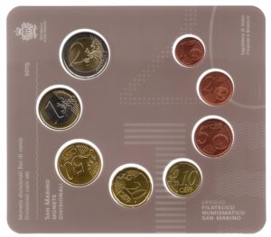 (EUR18.CofBU&FDC.2015.Cof-BU.000000001) Brilliant Uncirculated coin set San Marino 2015 Reverses (zoom)