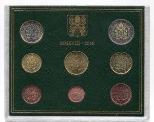 (EUR19.CofBU&FDC.2018.Cof-BU.000000002) BU Coin set Vaticano 2018 Obverses (zoom)