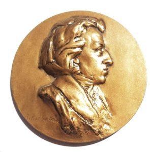 (FMED.Méd.MdP.CuSn54.spl.000000001) Bronze medal - Frédéric Chopin Obverse (zoom)