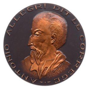 (FMED.Méd.MdP.CuSn83.2.spl.000000001) Patinated bronze medal - Antonio Allegri da Correggio Obverse (zoom)