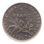 (FMO.1.1960.27.2.cp6.sup.000000001) 1 Franc Semeuse 1960 (gros 0) Revers