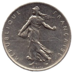 (FMO.1.1960.27.2.cp6.sup.000000001) 1 Franc Sower 1960 (big 0) Obverse (zoom)