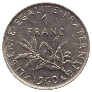 (FMO.1.1960.27.2.cp6.sup.000000001) 1 Franc Sower 1960 (big 0) Reverse (zoom)