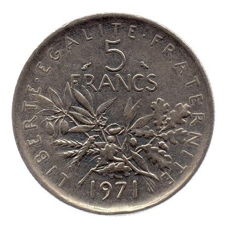 (FMO.5.1971.51.2.ttb.000000001) 5 Francs Semeuse 1971 Revers