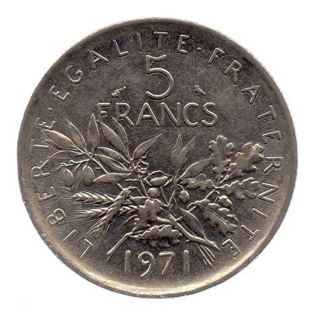 (FMO.5.1971.51.2.ttb.000000002) 5 Francs Semeuse 1971 Revers