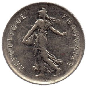 (FMO.5.1971.51.2.ttb.000000002) 5 Francs Sower 1971 Obverse (zoom)