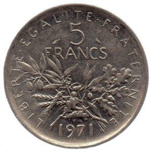 (FMO.5.1971.51.2.ttb.000000002) 5 Francs Sower 1971 Reverse (zoom)