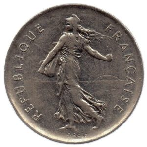 (FMO.5.1971.51.2.ttb.000000004) 5 Francs Sower 1971 Obverse (zoom)