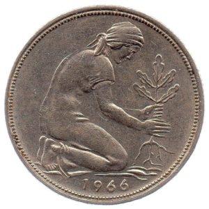 (W007.050.1966_D.1.ttb.000000001) 50 Pfennig Oak planter 1966 D Reverse (zoom)
