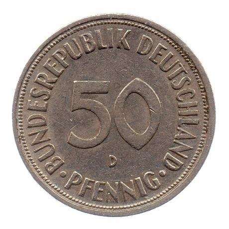 (W007.050.1966_D.1.ttb.000000001) 50 Pfennig Planteuse de chêne 1966 D Avers