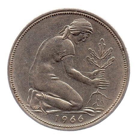 (W007.050.1966_D.1.ttb.000000001) 50 Pfennig Planteuse de chêne 1966 D Revers