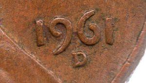 (W071.001.1961_D.1.1.ttb.000000001) 1 cent Abraham Lincoln 1961 D Mint mark (zoom)