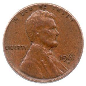 (W071.001.1961_D.1.1.ttb.000000001) 1 cent Abraham Lincoln 1961 D Obverse (zoom)