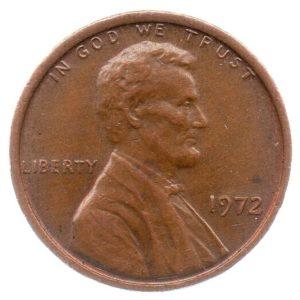 (W071.001.1972.1.ttb.000000001) 1 cent Abraham Lincoln 1972 Obverse (zoom)