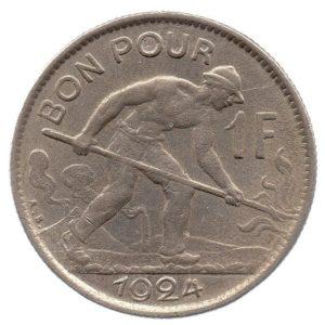 (W135.100.1924.1.ttb+[]sup.000000001) 1 Franc voucher Puddler 1924 Reverse (zoom)