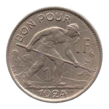 (W135.100.1924.1.ttb+[]sup.000000001) Bon pour 1 Franc Puddleur 1924 Revers