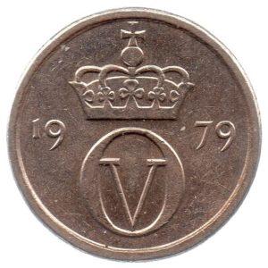 (W161.010.1979.1.ttb.000000001) 10 Ore King Olav V's monogram 1979 Obverse (zoom)