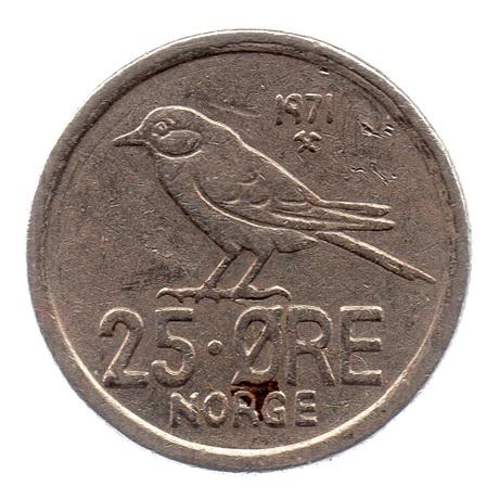 (W161.025.1971.1.ttb.000000001) 25 Ore Oiseau 1971 Revers