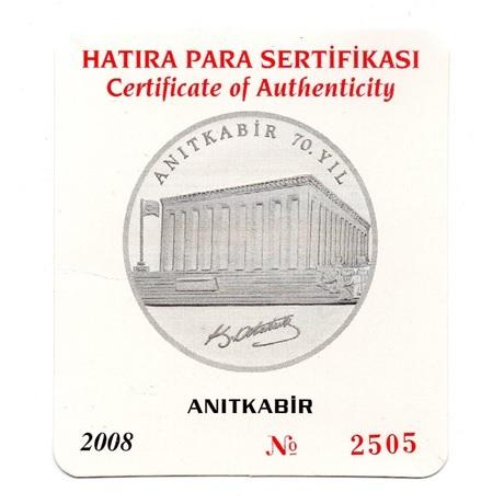 (W228.3500.2008.BU&BE.COM1.2505) 35 Lira Mausolée 2008 - Argent BE (certificat) (recto)