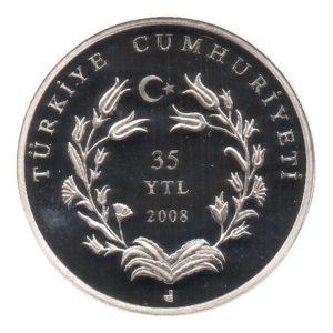 (W228.3500.2008.BU&BE.COM1.2505) 35 Lira Mausoleum 2008 - Proof silver Obverse (zoom)