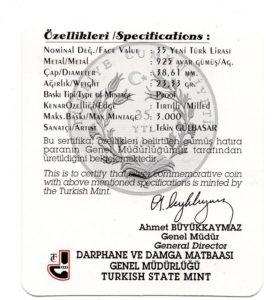 (W228.3500.2008.BU&BE.COM1.2505) 35 Lira Mausoleum 2008 - Proof silver (certificate) (back) (zoom)