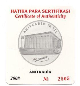 (W228.3500.2008.BU&BE.COM1.2505) 35 Lira Mausoleum 2008 - Proof silver (certificate) (front) (zoom)