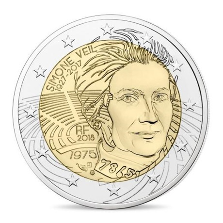 2 euro commémorative France 2018 BE - Simone Veil Avers