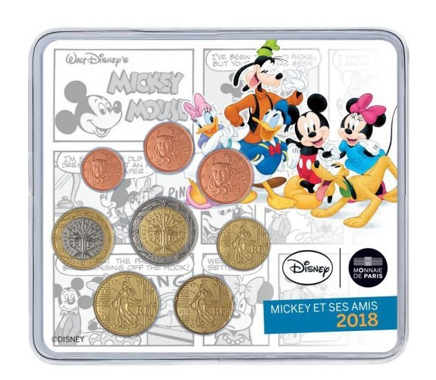 (EUR07.CofBU&FDC.2018.10041318280000) Brilliant Uncirculated mini-set France 2018 - Mickey Mouse Front (zoom)
