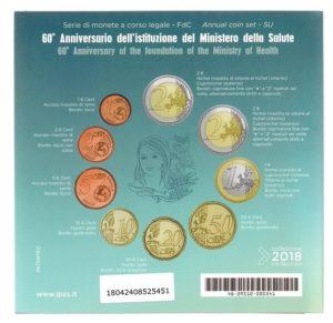 (EUR10.CofBU&FDC.2018.Cof-BU.000000002) BU coin set Italy 2018 (Ministry of Health) Back (zoom)