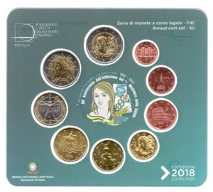 (EUR10.CofBU&FDC.2018.Cof-BU.000000002) BU coin set Italy 2018 (Ministry of Health) Obverses (zoom)