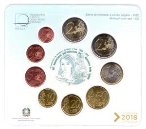 (EUR10.CofBU&FDC.2018.Cof-BU.000000002) BU coin set Italy 2018 (Ministry of Health) Reverses (zoom)