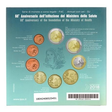 (EUR10.CofBU&FDC.2018.Cof-BU.000000002) Coffret BU Italie 2018 (Ministère de la Santé) Verso