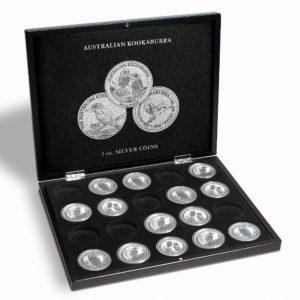(MAT01.Cofméd&écr.Cof.346441) Numismatic case Leuchtturm - 1 Dollar Kookaburra 1 oz (open) (zoom)