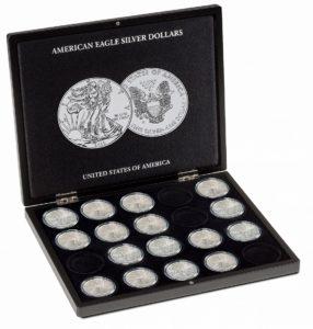 (MAT01.Cofméd&écr.Cof.348033) Numismatic case Leuchtturm - 1 Dollar American Eagle 1 oz (open) (zoom)