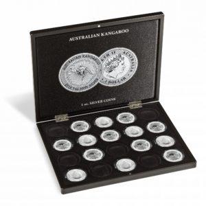(MAT01.Cofméd&écr.Cof.355190) Numismatic case Leuchtturm - 1 Dollar Kangaroo 1 oz (open) (zoom)