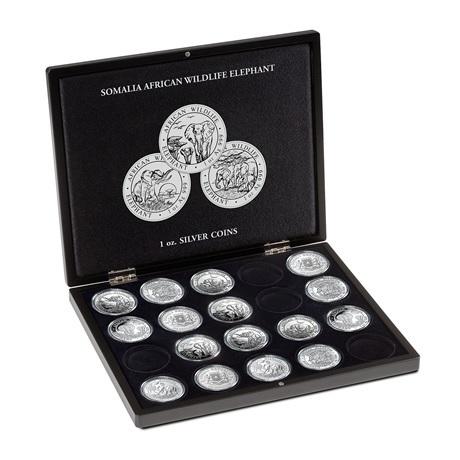 (MAT01.Cofméd&écr.Cof.357306) Coffret Leuchtturm - 100 Shillings Somalie 1 once argent - Eléphant (ouvert)