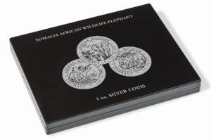 (MAT01.Cofméd&écr.Cof.357306) Numismatic case Leuchtturm - 100 Shillings Elephant 1 oz (closed) (zoom)