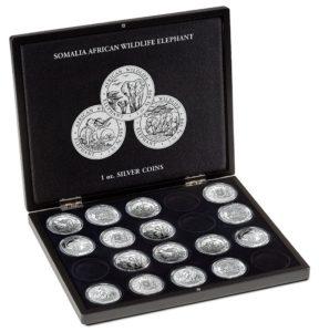 (MAT01.Cofméd&écr.Cof.357306) Numismatic case Leuchtturm - 100 Shillings Elephant 1 oz (open) (zoom)