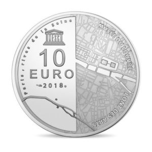 10 euro France 2018 Proof silver - The Louvre Museum & the Pont des Arts Reverse (zoom)