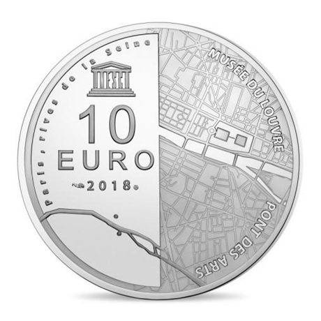10 euro France 2018 argent BE - Musée du Louvre et pont des Arts Revers