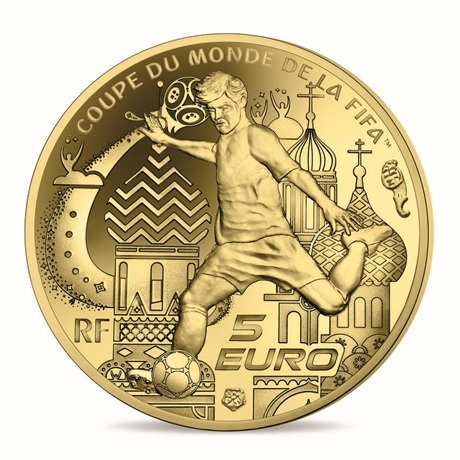5 euro France 2018 or BE - Coupe du monde de football Revers